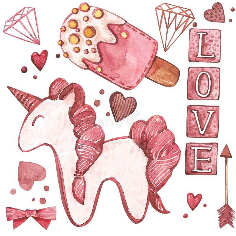 Valentindagtext Förälskelse Rosa vattenfärguppsättning av beståndsdelar för dag för valentin` s Denna är mappen av formatet EPS8  stock illustrationer