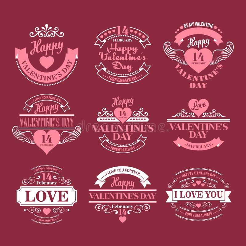 Valentindaguppsättning av typografibeståndsdelar med vektor illustrationer