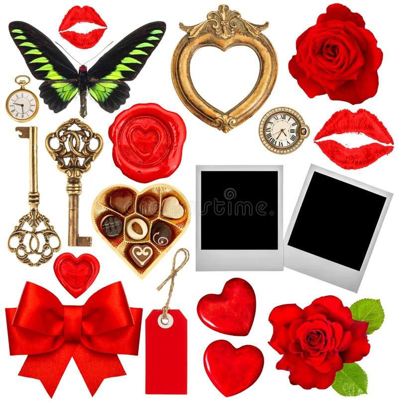 Valentindagurklippsbok Röda hjärtor, fotoram, polaroid, kis arkivbild