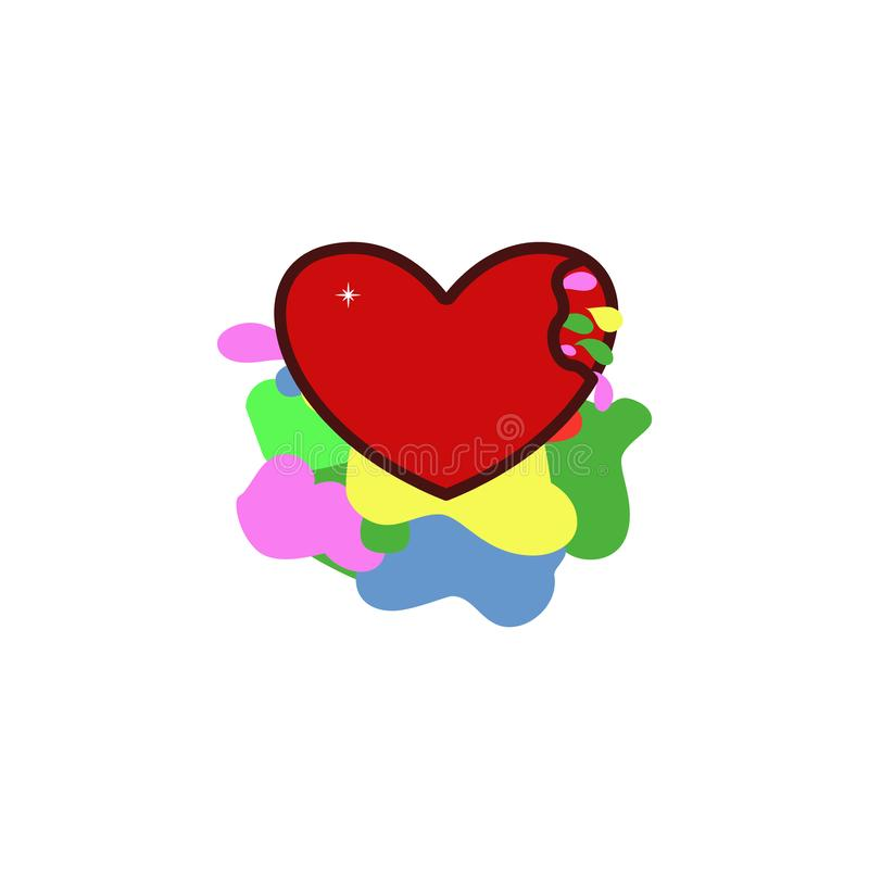 Valentine's天,心脏断裂,五颜六色的血液象 颜色情人节的元素 优质质量图形设计象 符号 库存例证