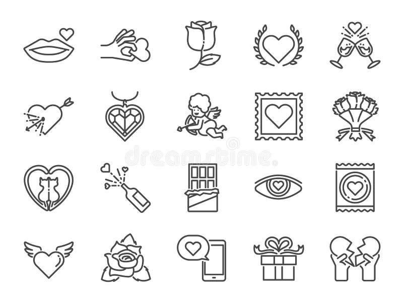Valentine's dnia linii ikony set Zawrzeć ikony jako walentynka, miłość, amorek, serce, para, związek, datowanie i więcej, royalty ilustracja