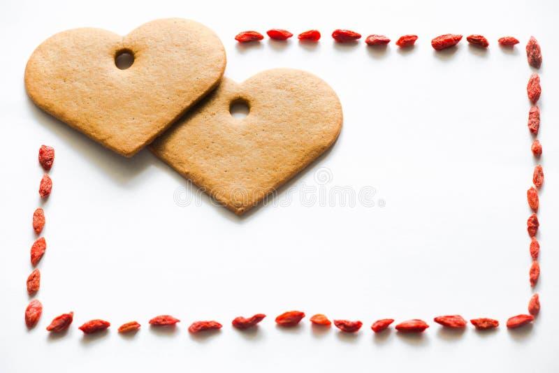 Valentine's-Herz mit Lebkuchen mit Raum für Aufschrift stockfotos