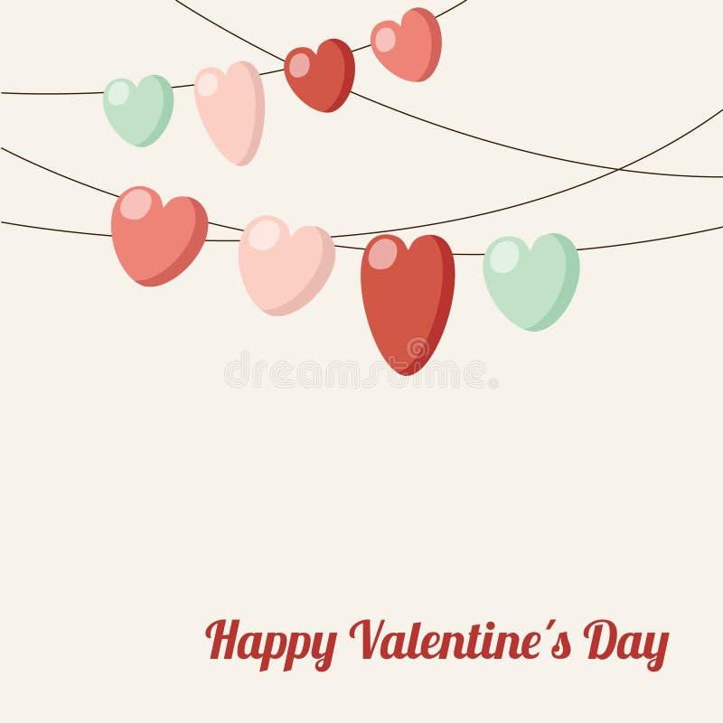 ValentineÂ, guirnalda de los corazones de la chuchería de la invitación de boda stock de ilustración