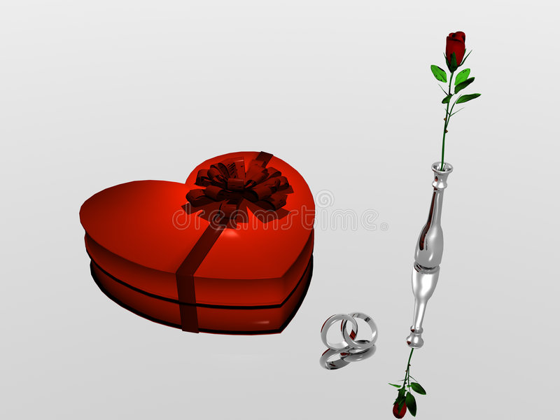 Valentine. A bryce rendering of wedding rings, chocolate valentine box and a vase with a rose vector illustration