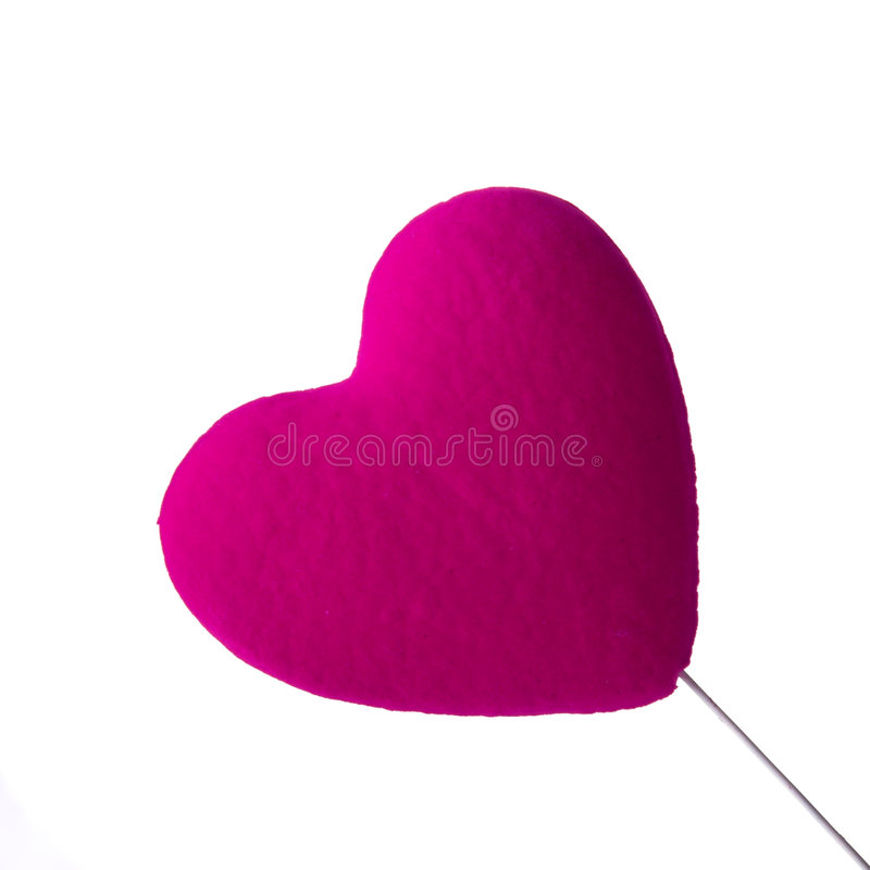 Valentine. Pink Heart isolated on white royalty free stock image