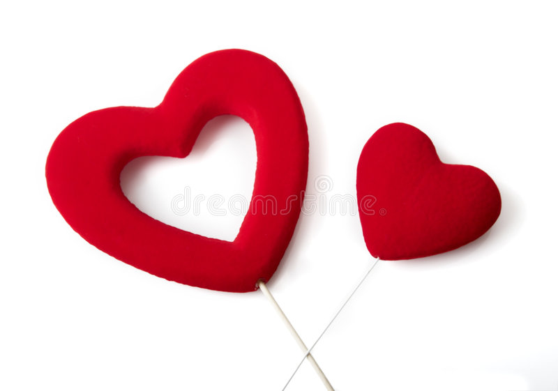 Valentine. Heart's isolated on white stock images