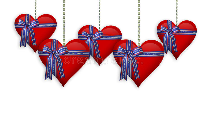 Valentine or 4th of July Hearts border royalty free stock image