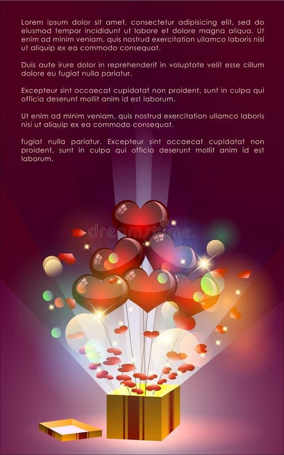Valentine Abstract com sumário do coração ilustração stock