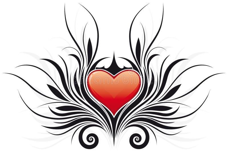 valentine abstrait de tatto du coeur s de jour illustration de vecteur