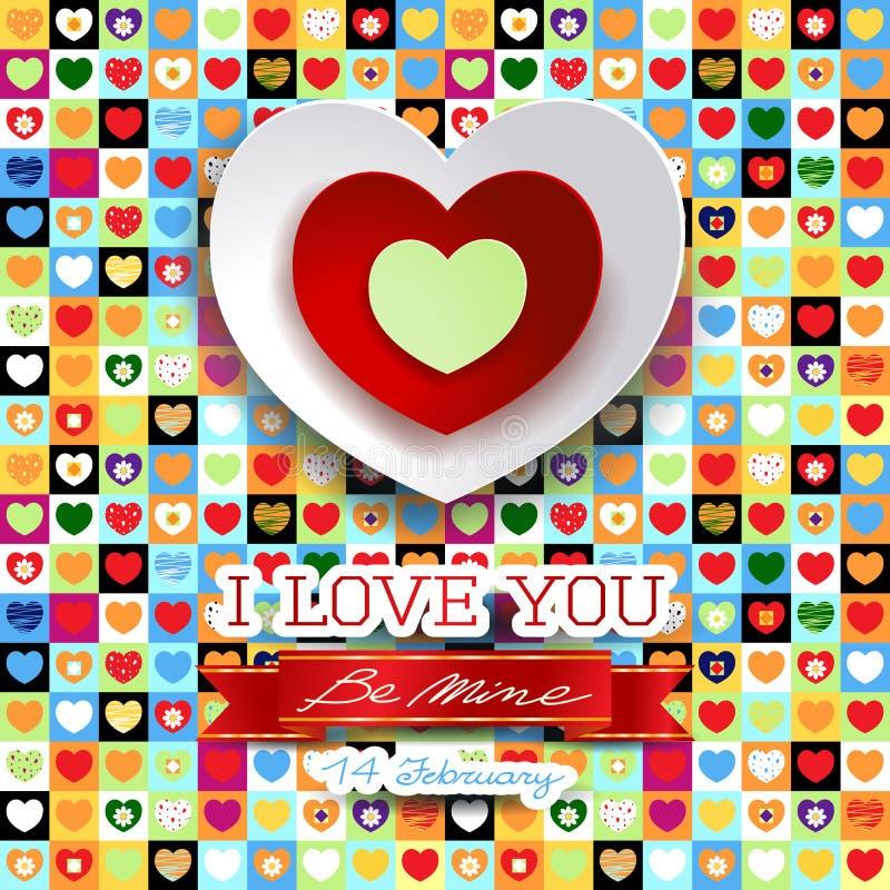 Valentine-achtergrond met harten en bericht vector illustratie