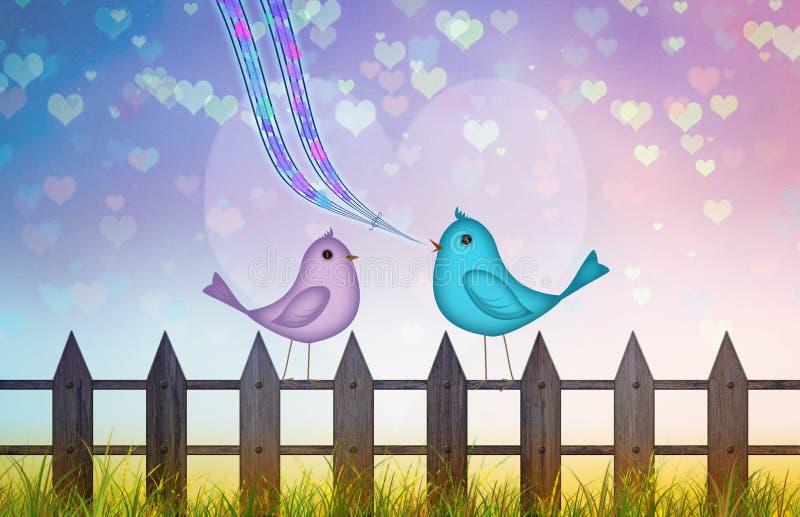 Valentine-achtergrond met kleurrijke harten en het leuke paar van beeldverhaalvogels in liefde stock illustratie