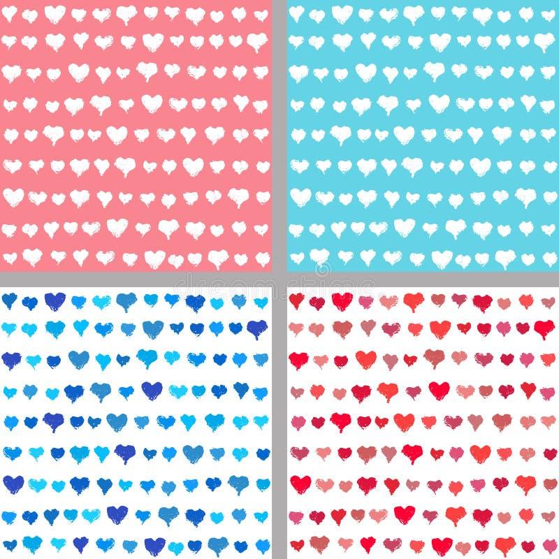Valentine-achtergronden van geschilderde harten royalty-vrije illustratie