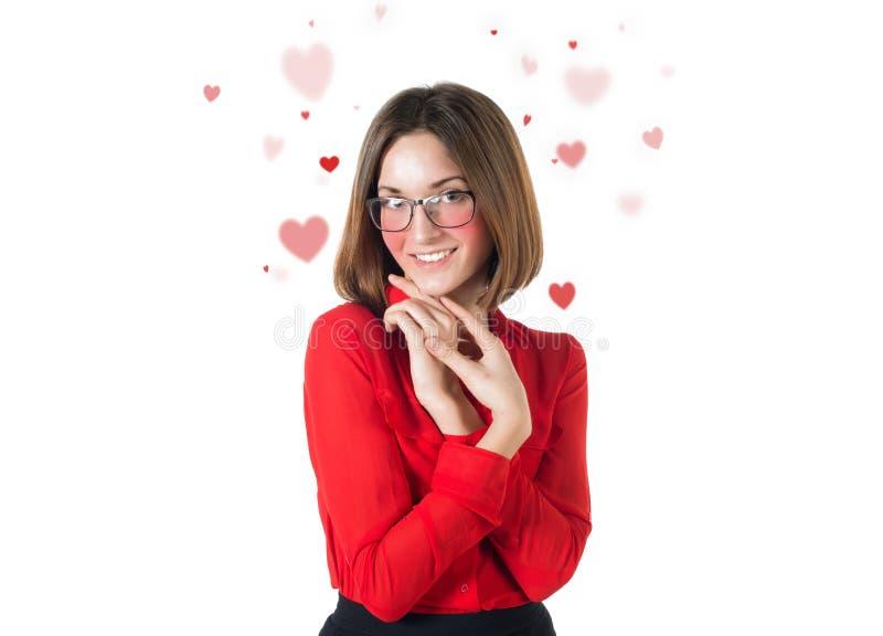 Valentine attirante de coeurs d'amour de femme d'isolement dessus image stock