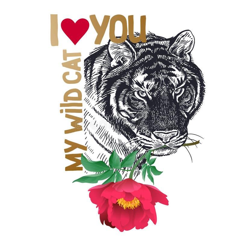"""Valentine avec le tigre animal, pivoine de fleur, texte """"je t'aime mon chat sauvage ` illustration de vecteur"""