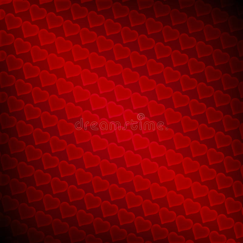 Valentine background. Red small hearts in a rows vector illustration