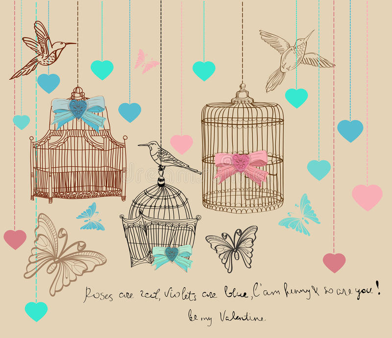 Download Valentine Background With Cages And Birds Stock Vector - Illustration: 22789232