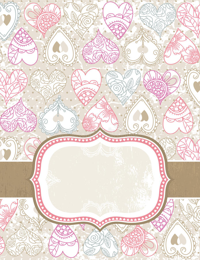 Valentine background with color hearts stock illustration