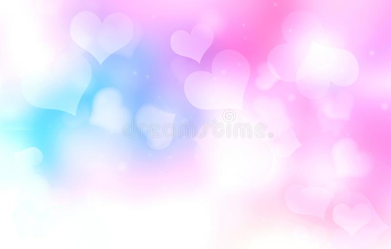 Valentine background. Hearts blurred backdrop vector illustration