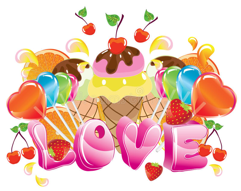 Valentine background with sweets vector illustration