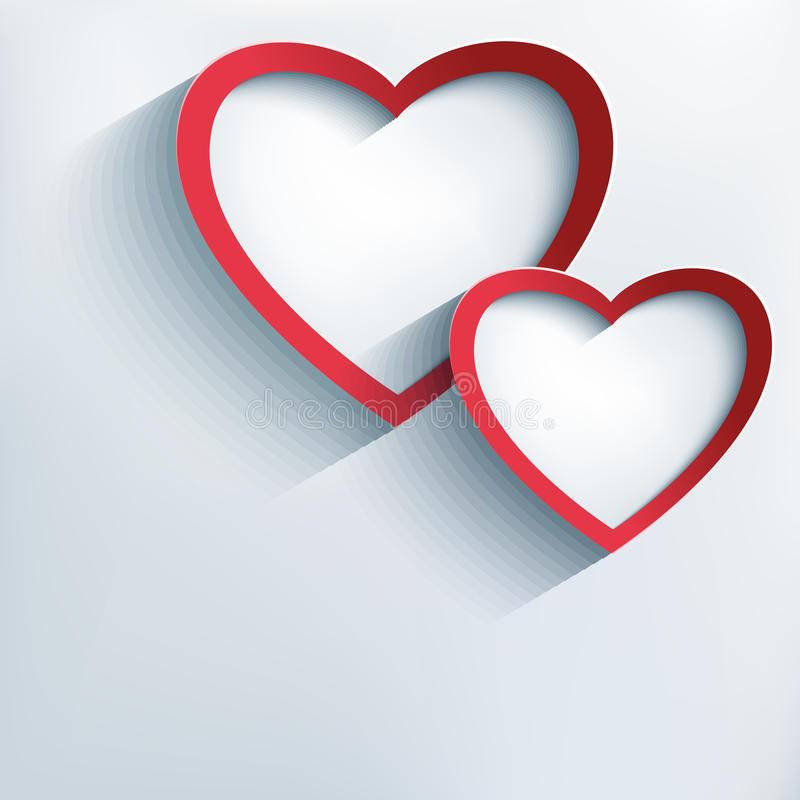 Valentine background with two stylish 3d hearts vector illustration