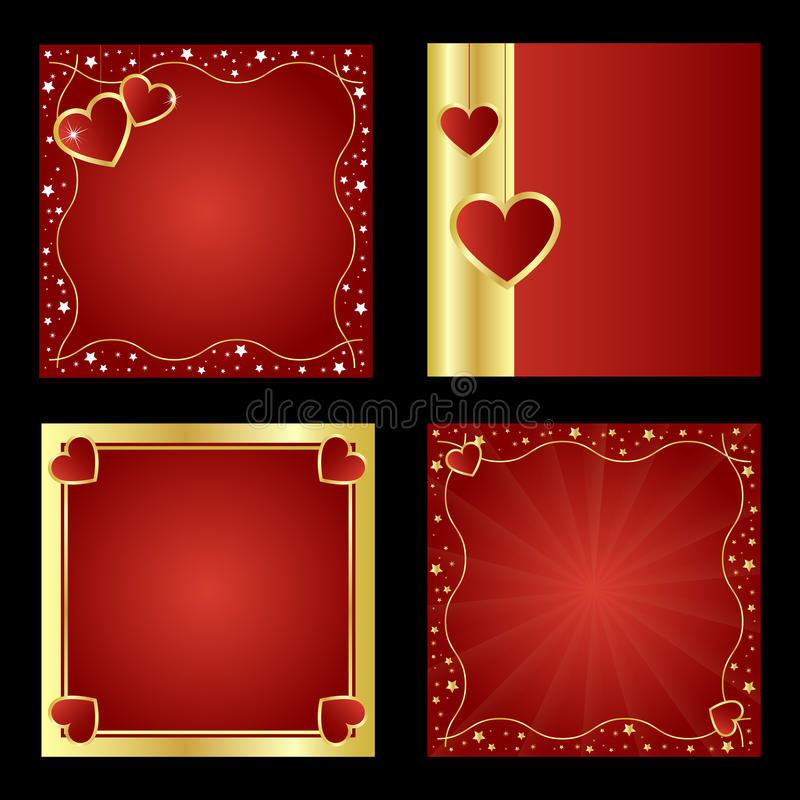 Valentine backgrounds. Set of four Valentine backgrounds with hearts and golden borders isolated on black backgrounds.EPS file available royalty free illustration
