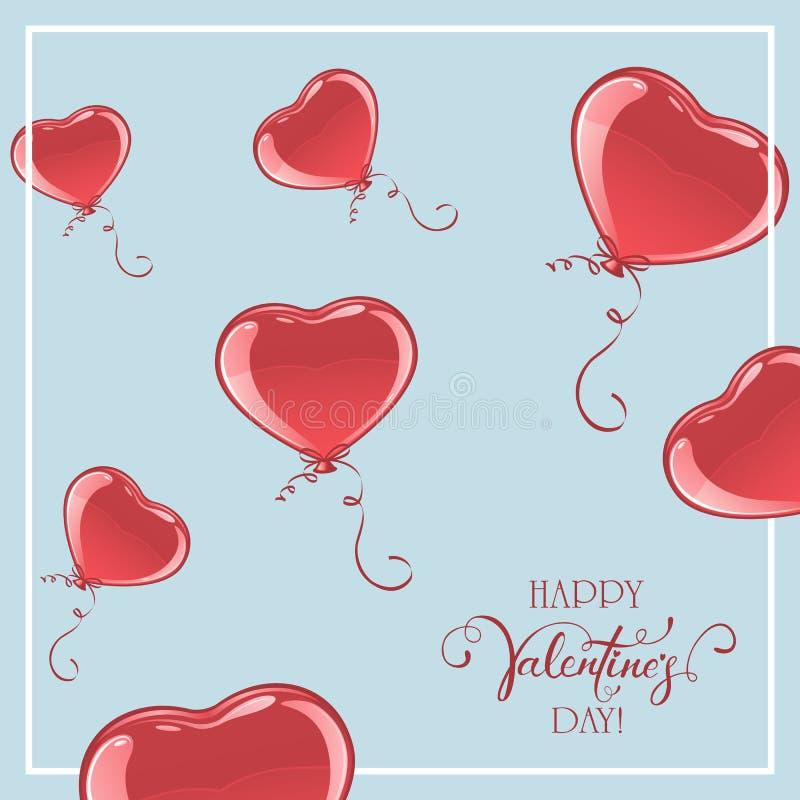 Valentine Balloons i form av hjärta på blå bakgrund stock illustrationer