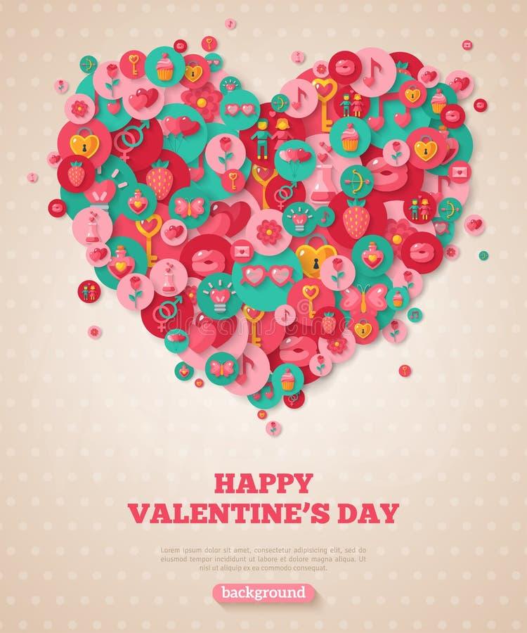 Valentine Banner con el corazón plano de los iconos stock de ilustración