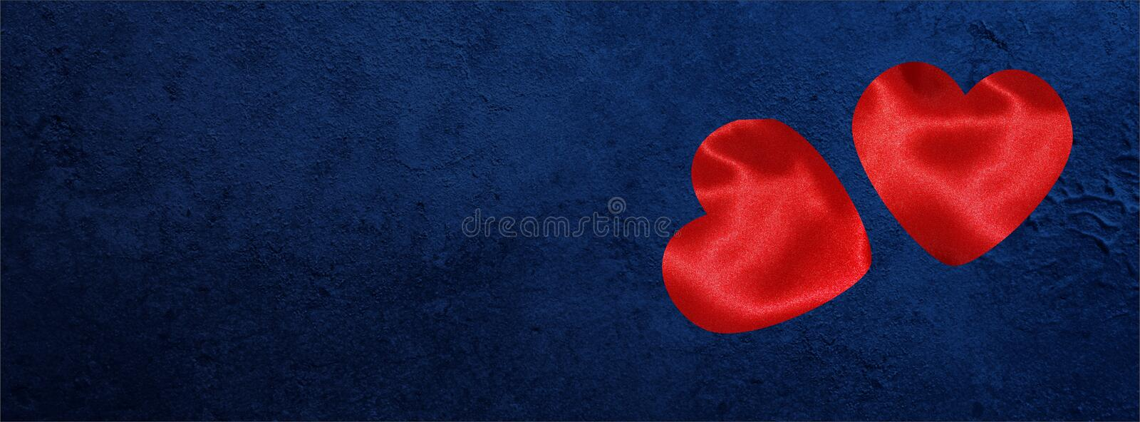 Valentine banner for Facebook cover with hearts on Dark blue grunge stock images
