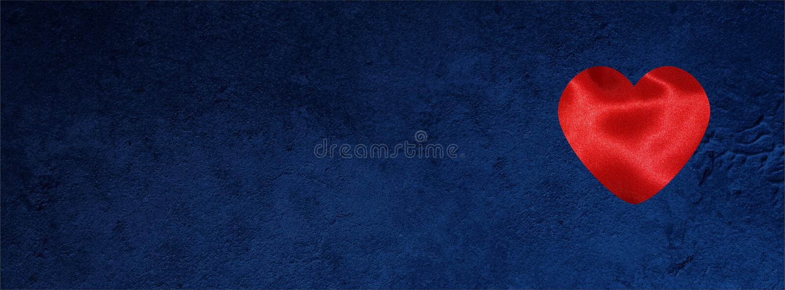 Valentine banner for Facebook cover with hearts on Dark blue grunge stock photography