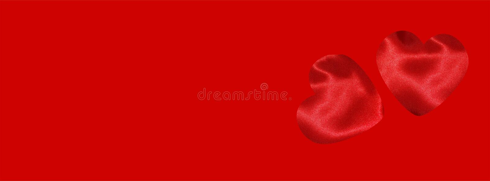 Valentine banner for Facebook cover with hearts on deep red background stock photography