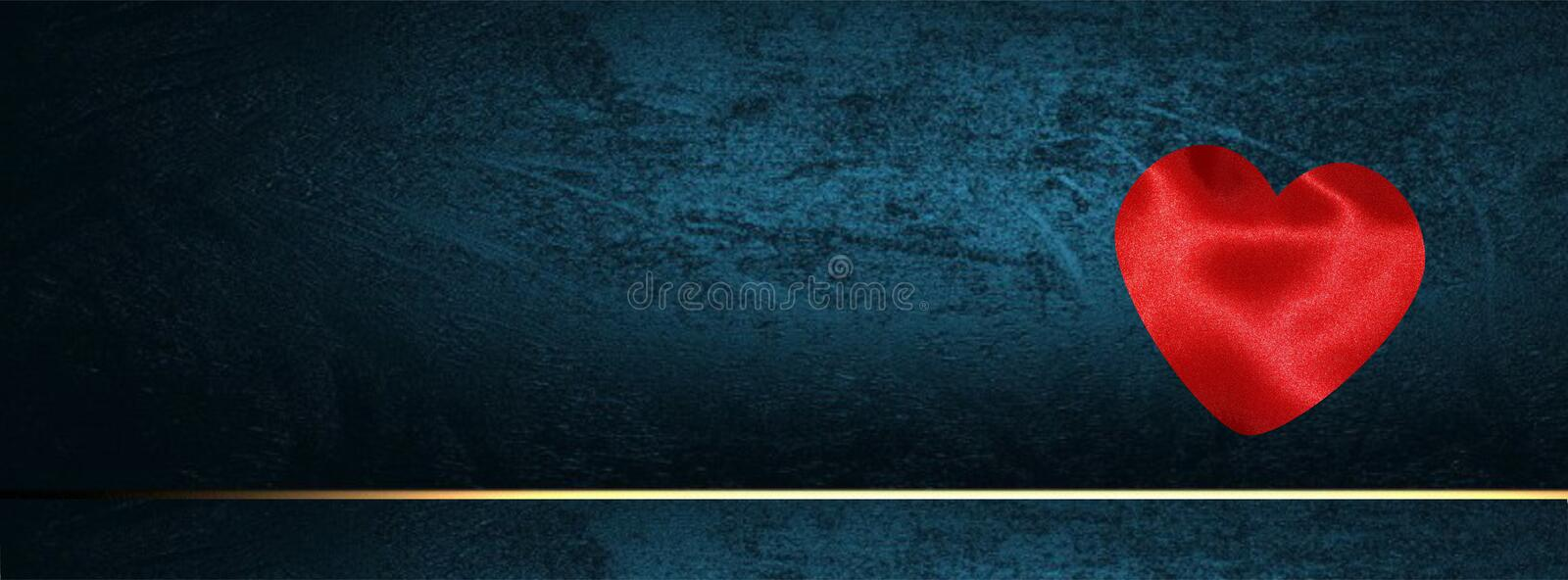 Valentine banner for Facebook cover with hearts on Dark blue grunge royalty free stock images