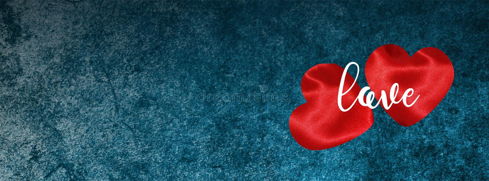 Valentine banner for Facebook cover with hearts on Dark blue grunge stock photos