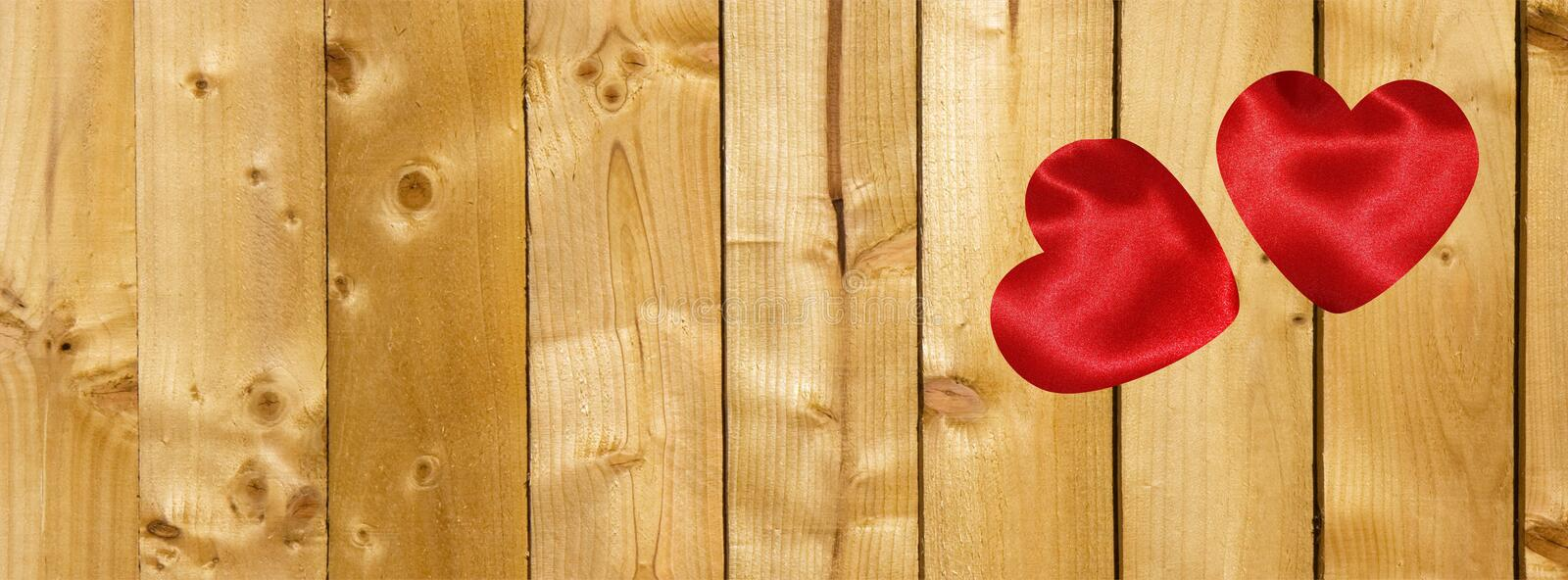Valentine Facebook cover with hearts on  wooden planks background royalty free stock images