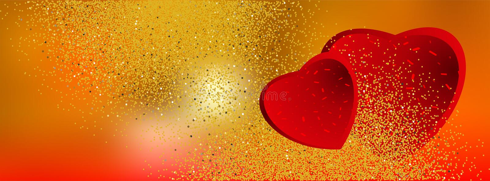 Valentine banners with hearts and golden glittering background - Facebook cover, -vector vector illustration