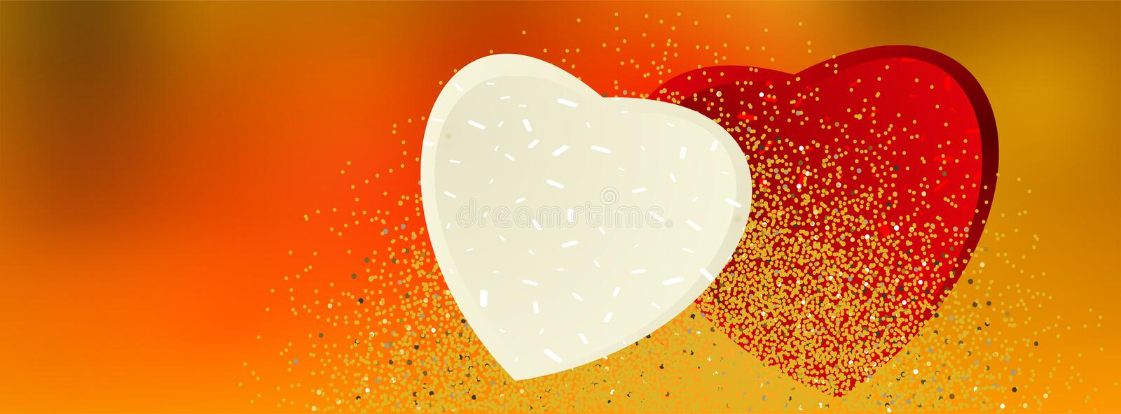 Valentine banners with hearts and golden glittering background - Facebook cover, -vector stock illustration