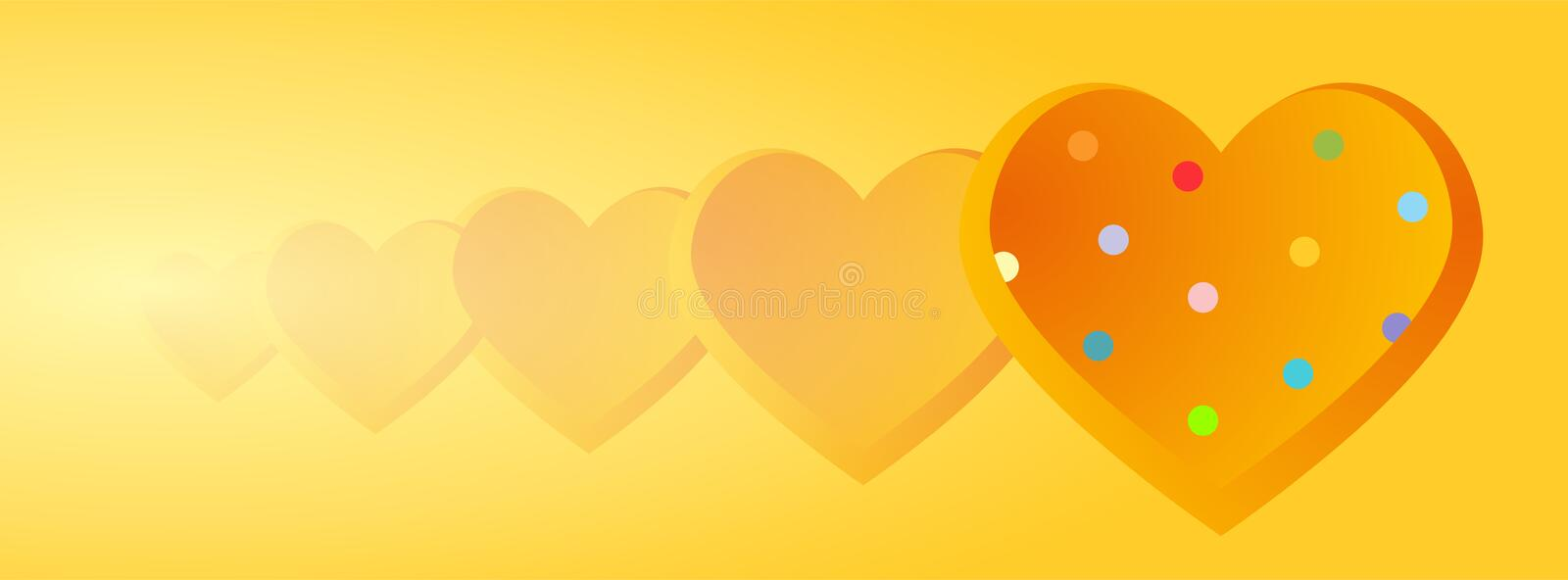 Valentine banners with Polka Dots hearts  - Facebook cover, -vector vector illustration