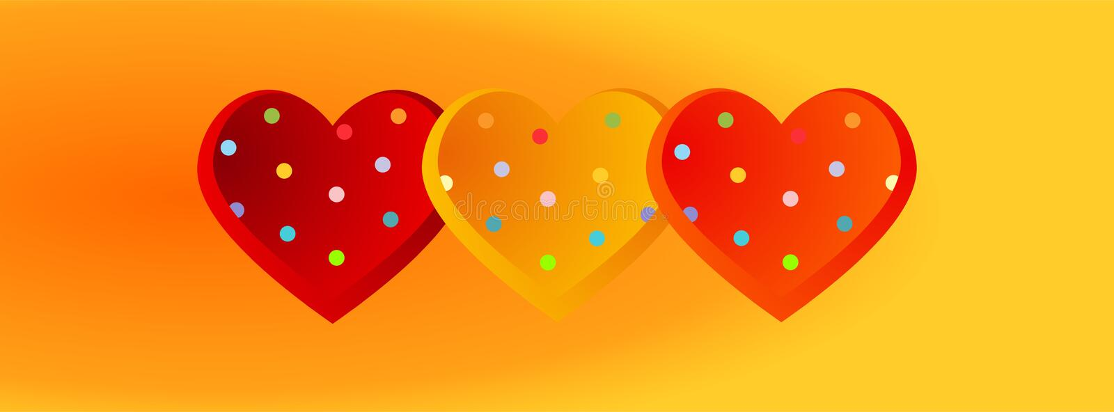 Valentine banners with Polka Dots hearts  - Facebook cover, -vector stock illustration