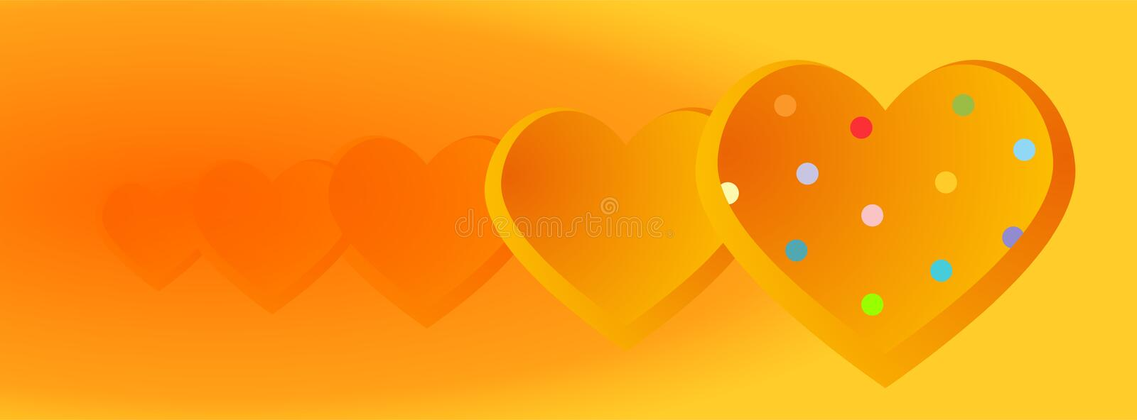Valentine banners with Polka Dots hearts  - Facebook cover, -vector royalty free illustration