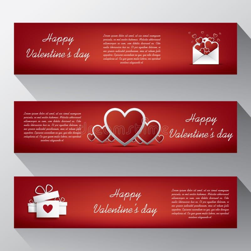 Valentine-banners voor uw website met envelop, stock illustratie
