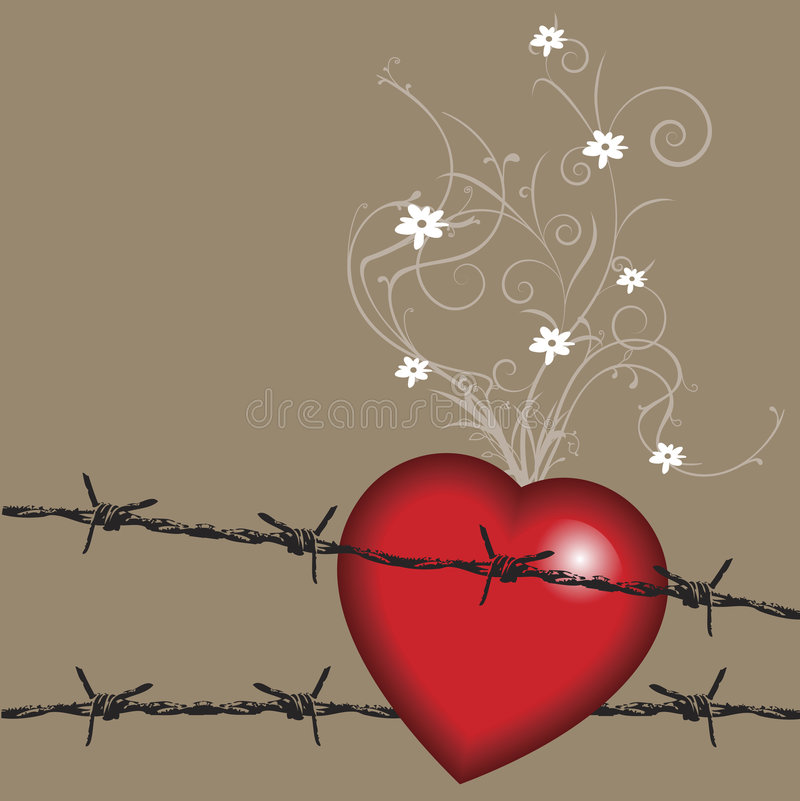 Valentine barbwire. Valentine background with big heart on barbwire, and small flowers on vines stock illustration