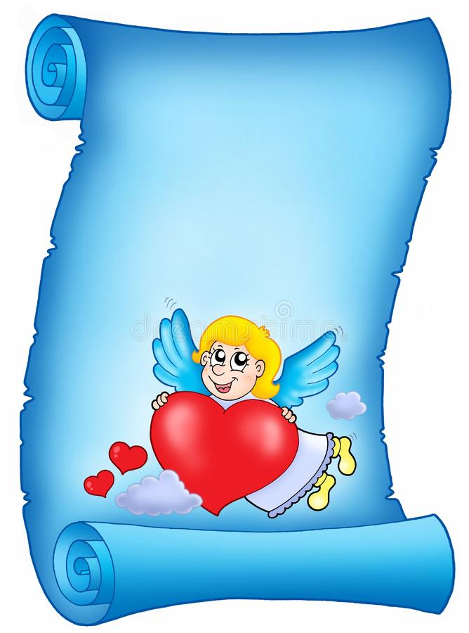 Download Valentine Blue Letter With Flying Cupid Stock Illustration - Illustration of angelic, color: 7728659