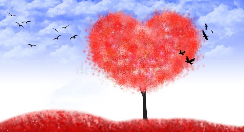 Valentine-boom van hartvorm, liefde - Illustratie royalty-vrije illustratie