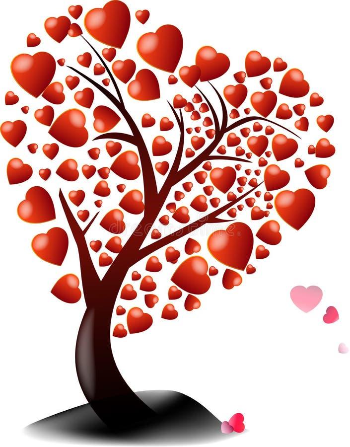 Valentine-boom van rood hart stock illustratie