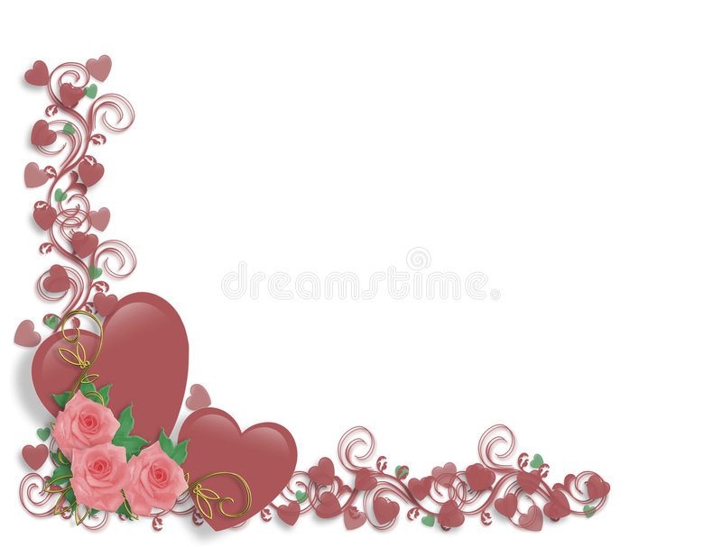 Valentine Border Pink Hearts and Roses vector illustration