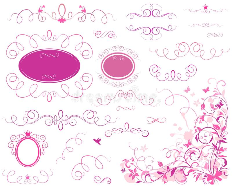 Valentine borders. Collection of Valentine pink borders, heading and frames royalty free illustration