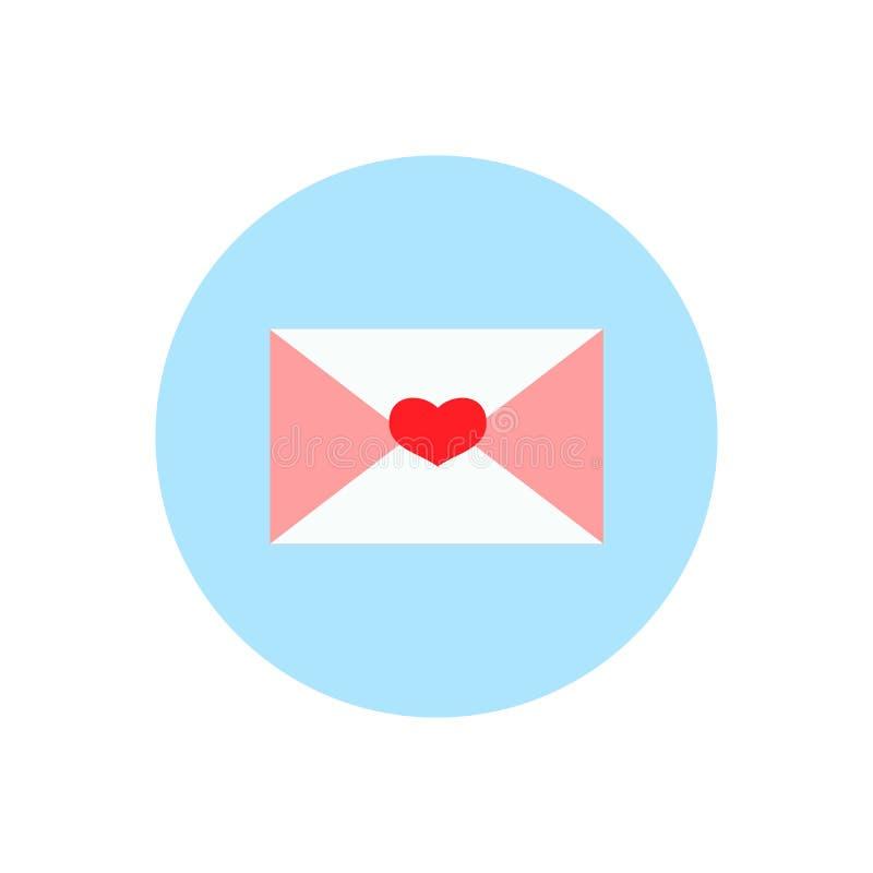 Valentine-brief, vlak pictogram, illustratie stock illustratie