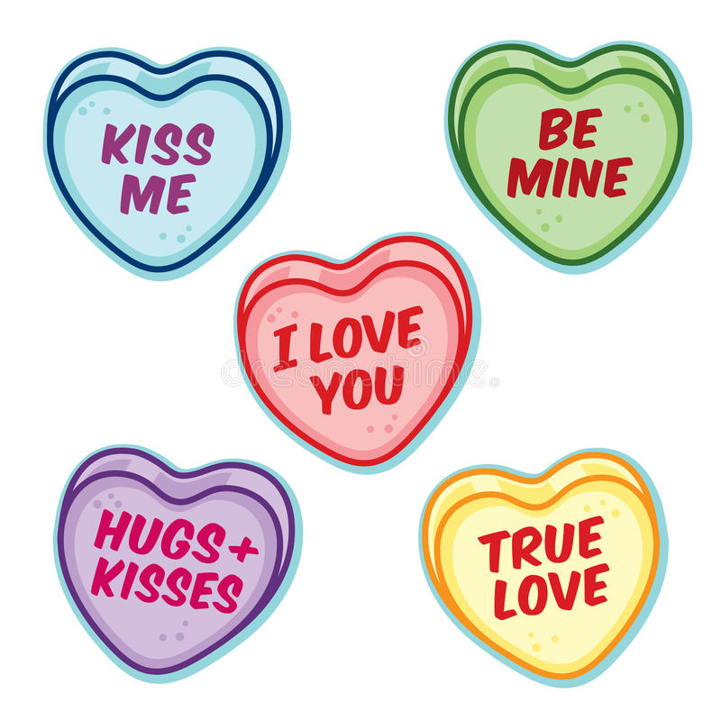 Free Valentine Candy Hearts With Word Sayings Stock Photography - 66091302