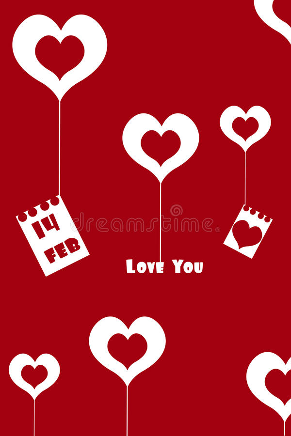 Valentine card. Illustration of valentine card with red background royalty free illustration
