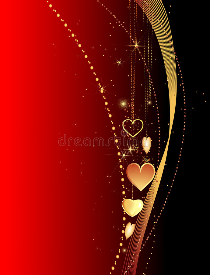 Valentine card. Golden jewel hearts and chains on deep red background royalty free illustration