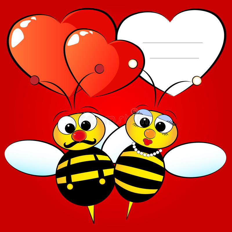 Download Valentine Card with bees stock vector. Image of greetings - 12763316